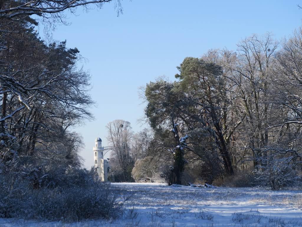 Landschaftspark der Pfaueninsel im Winter